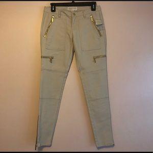 Michael Kors Beige Skinny Zippers Leg Pants Sz 2